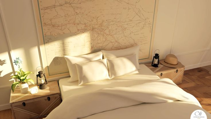 #MasterBedroom 3D E-Design by Oli Interior Design Online Studio #interiordesign #vintage #vintagemap