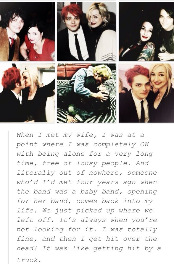 Gerard Way | quote about being in love! :) they are so cute