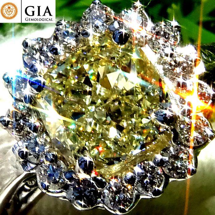 Online veilinghuis Catawiki: 1,67 ct onbehandelde SI1 natuurlijke fancy diepgele diamanten solitaire verlovingsring in 18 kt witgoud - GIA gecertificeerd - Geen minimumprijs