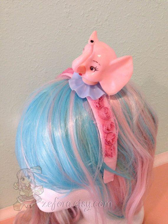 Vintage Pink Elephant Head Pink Sweet Lolita Headband by zefora