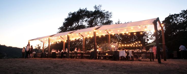 Custom Wood Long Dining Canopy with Bare Bulb Lights and Wire Lanterns  #offthebeatenpath  #offthebeatenpathweddings