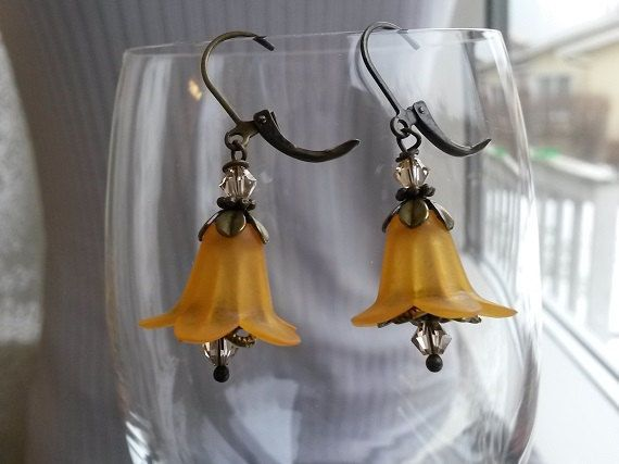 Dangle fairytale earrings with lucite flowers in orange for women by IMKdesign