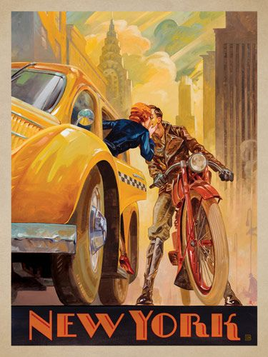 New York Minute - This series of romantic travel art is made from original oil paintings by artist Kai Carpenter. Styled in an Art Deco flair, this adventurous scene is sure to bring a smile and a smooch to any classic poster art lover!