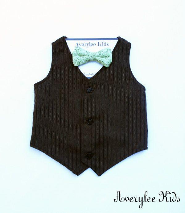 Page Boy Outfit Toddler Wedding Vest Newborn Photo Prop Ring Bearer Outfit Rustic Wedding Vest, Boys Brown Formal Wear Vest