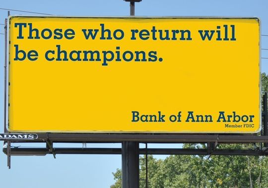 Bank of Ann Arbor unleashes Jim #Harbaugh billboards #Michigan #GoBlue #Wolverine #welcomeback http://on.freep.com/1B1EcqG