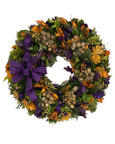 """22in """"Fall Flair"""" Wreath on Rue La La - This is my perfect fall door decoration!!! Has hints of orange for coordinating with Halloween decorations AND purple for TCU!"""