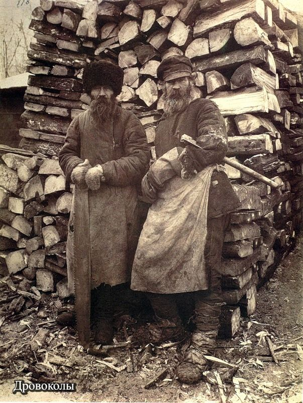 Old Russian By Maxim Dmitriev | Wood splitters, late 1800's