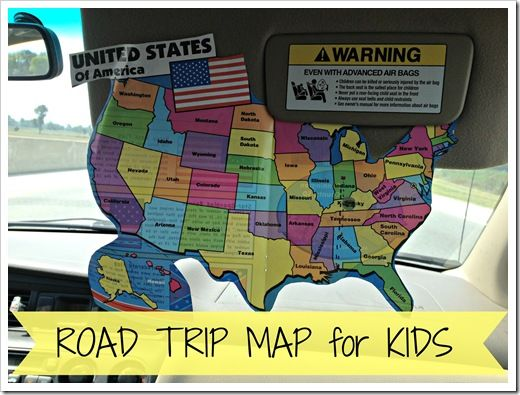 Road trip map for kids - Could print off a map with the capitals too for help in memorizing states and capitals!