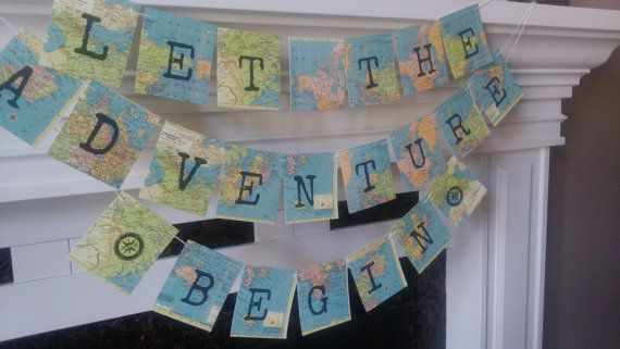 Adventure Banner, Travel theme Banner, Retirement Adventure, travel Bridal shower, Going Away, Map Decor, farewell banner