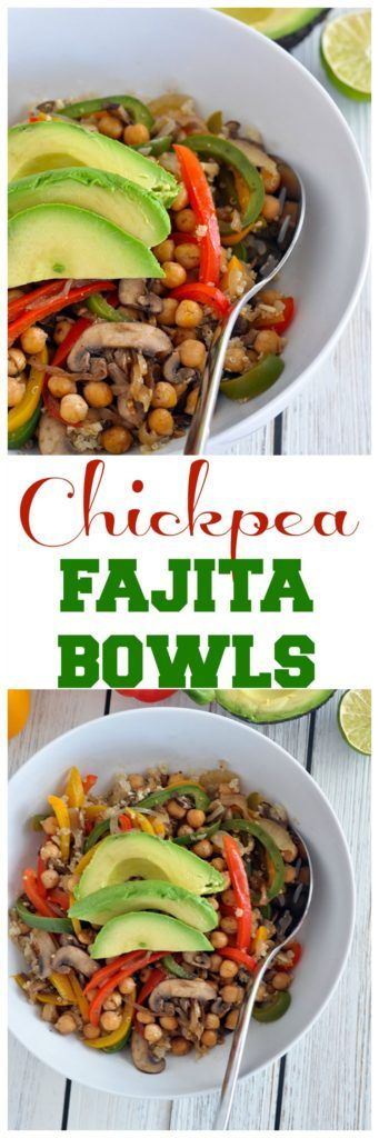These Chickpea Fajita Bowls are a great way to use up veggies in the fridge. It's healthy, vegan and gluten free too. Very easy recipe.
