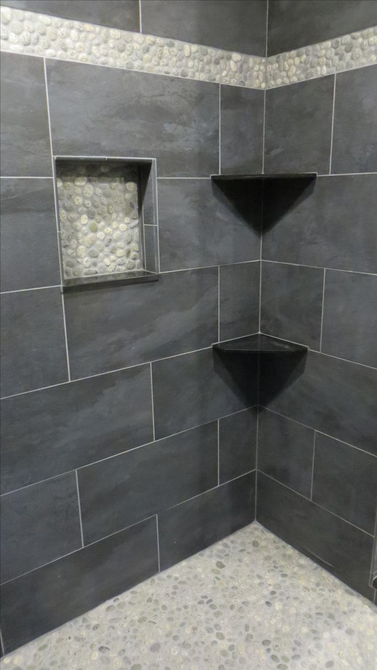 Bathroom floor and shower tile ideas - Stunning Shower Remodel Using Bali Cloud Pebble Tile Flooring Niche And Accent Strip Https