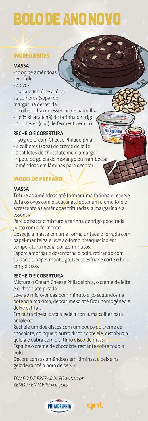 Bolo de amêndoas recheado com geleia de morango e chocolate - Receitas - GNT