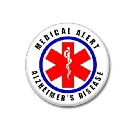 Alzheimer's Disease, Medical Alert button.  #medical #alert #alzheimers #disease #buttons #tags #badges #pins