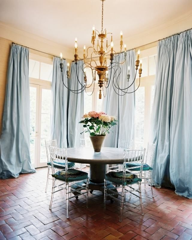 light blue curtains french country