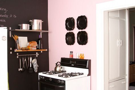 kitchens - Ralph Lauren - Mademoiselle - pink accent wall black chalkboard wall stainless steel shelves  Danielle Deboe - Super adorable pink