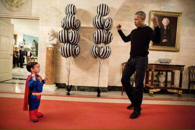 """The video of this gold! The little boy sees the President and First Lady coming down the hall and he says """"That's POTUS!"""" While Michelle is in the background saying """"He eve has Superman hair!"""" I watch it every time I need some cheering up."""