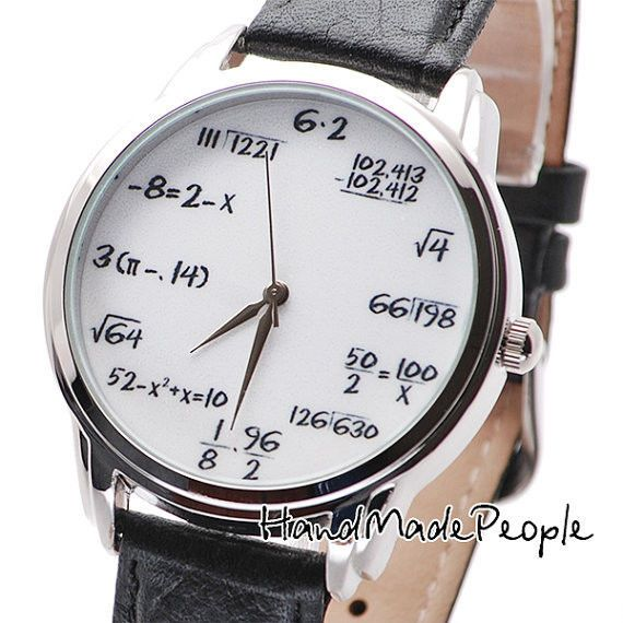 Math on White Watch (Black Band), Watches for Women, Mens ...