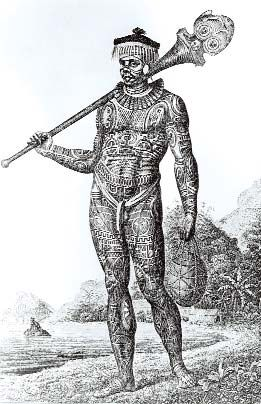 Engraving of a tattooed warrior of Nuku Hiva, Marquesas Islands, i 1804. Adam Johann von Krusenstern,  Reise un die Welt in den Jahren 1803-1806 , Saint-Petersbourg, 1810-1812, 3 vols. ©Musée de l' Homme, Paris.