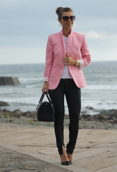 I would prob change the pink blazer to a red! Or white. - LDB!