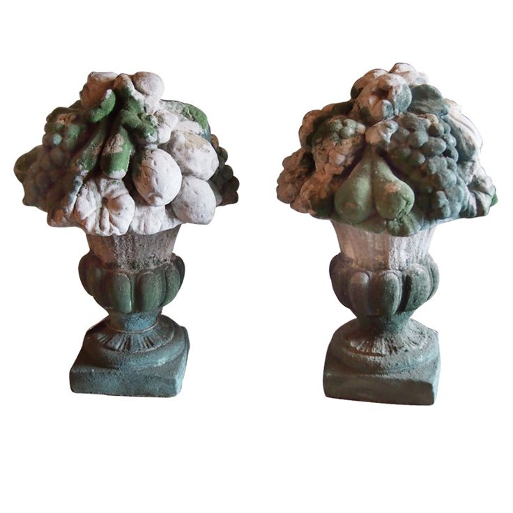 1stdibs | Pair Of Cast Stone Fruit Urns With Chipped Paint Patina