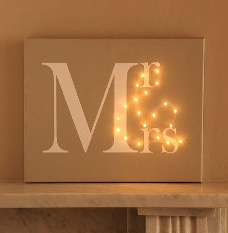 Love this - Mr & Mrs Light Up Canvas