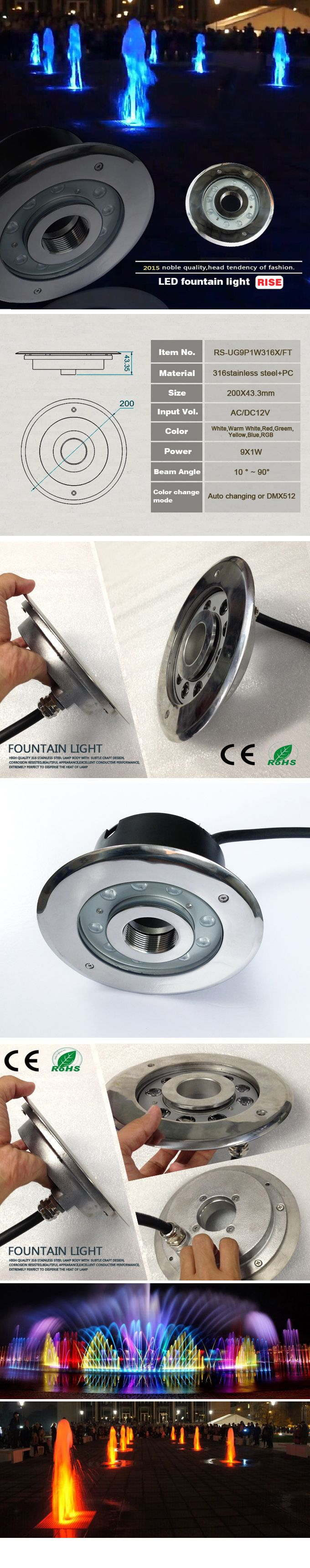 Low Priced 9*1W/9*3W 27W,Led Recessed Fountain Light,LED Fountain Light With DMX Function
