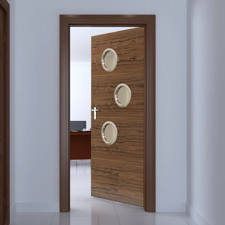 JBK Porthole 3 SP Fernor Walnut Veneer Fire Door is Pre-Finished - 30 Minute FC, this door will provide good fire safety for your office. #officedoor #modernofficedoor #portholesofficedoor