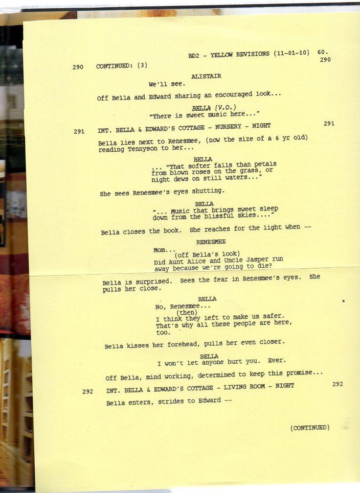 twilight movie script Twilight saga: new moon script taken from a transcript of the screenplay and/or the robert pattinson movie.