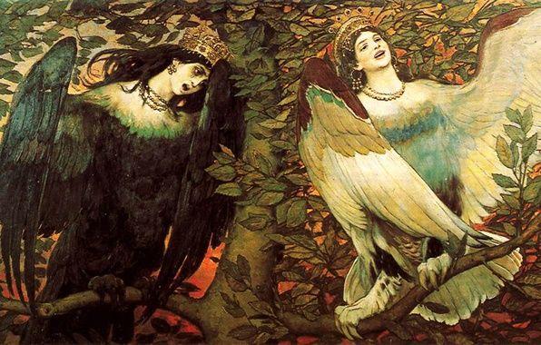 Фото обои картина, живопись, женщины, дерево, птицы, листва, Васнецов Виктор, Песнь радости и печали, сирены, Сирин и ...