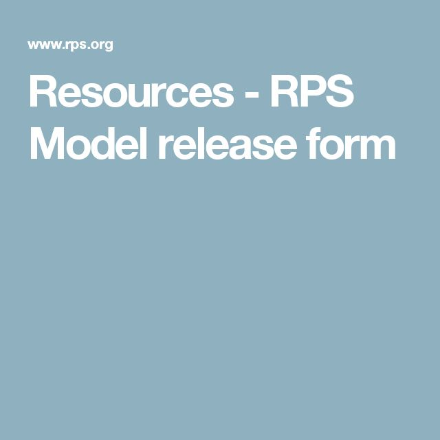 Resources - RPS Model release form
