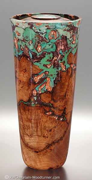 "Robert W. Chatelain, Artist, Memorial urn, black cherry burl with turquoise and copper resins and embedded copper leaf inlay    6.75"" diameter  14.0"" height  175 cu.in."