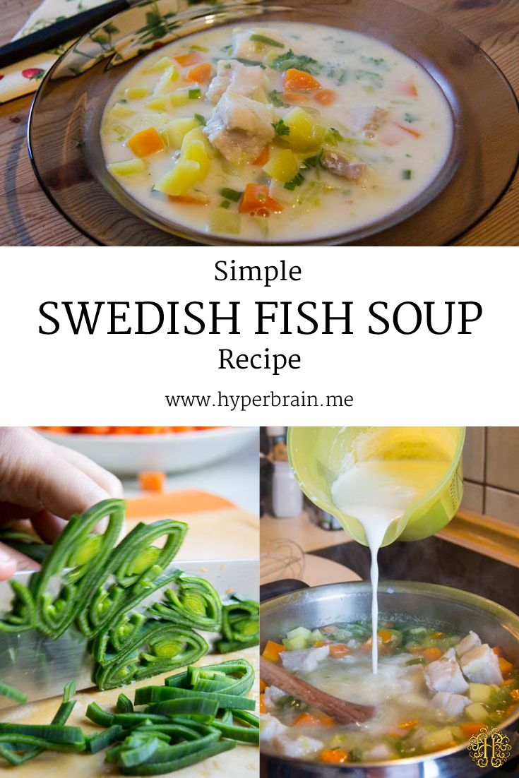 Simple Swedish Fish Soup Recipe - dinner in 20 minutes - http://www.hyperbrain.me/recipe-11-fish-soup/