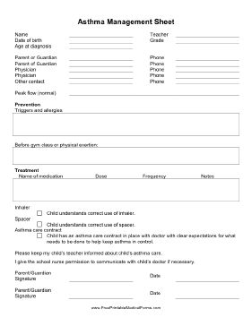 This Asthma Management Sheet can be filled in with information about a student's asthma and left with school authorities. Free to download and print
