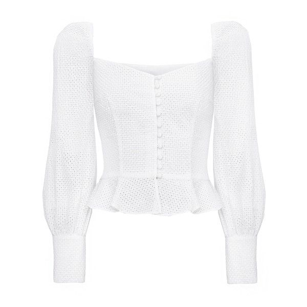 Valentina Bustier Puffy Sleeve Top ($135) ❤ liked on Polyvore featuring tops, bustier corset, white corset bustier, white bustier, grommet top and white cotton tops