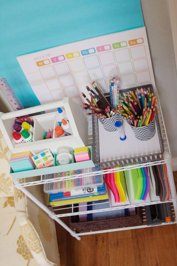 DIY Back to School Homework Station Ideas - Create a free standing organized homework station via simply organized