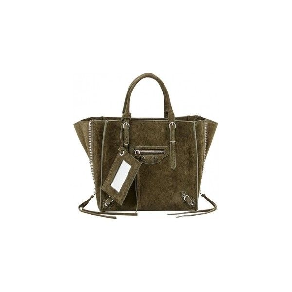 Balenciaga Papier A4 Mini Tote Bag in Vert Olive ❤ liked on Polyvore featuring bags, handbags, tote bags, tote handbags, balenciaga purse, handbags totes, brown tote bags and balenciaga tote bag