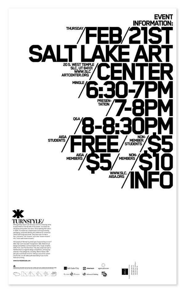 Graphic Design | Posters & Flyers http://files.idnworld.com/creators/files/v16n4/Turnstyle/AIGA_SLC_Poster_Back.jpg