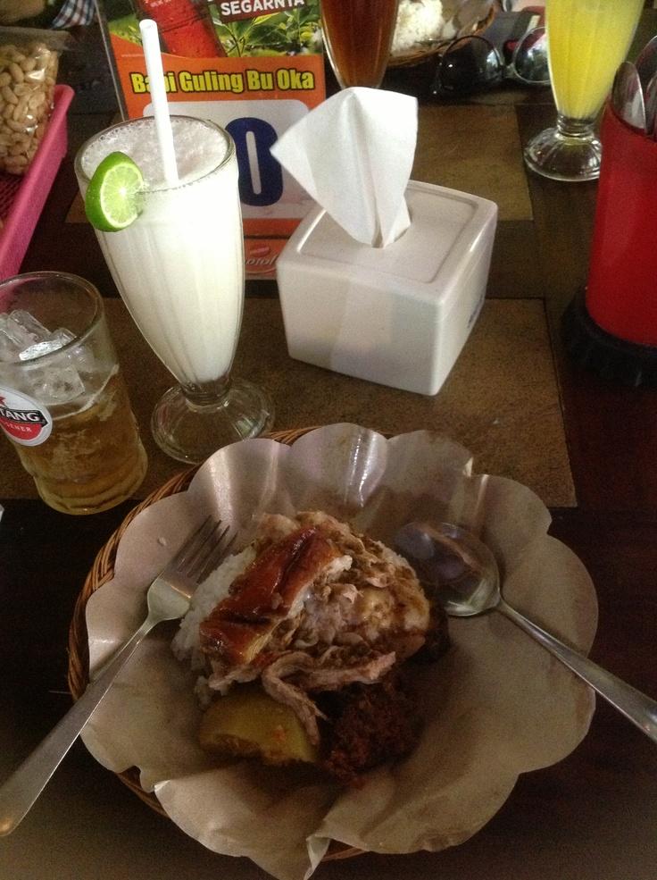 Nasi campur babi guling.. Tradiional food from Bali, Indonesia..