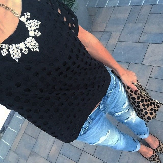 walter baker crop top. Gap sexy boyfriend jeans. Halogen leopard pumps. Claire vivier leopard clutch. Jcrew statement necklace.