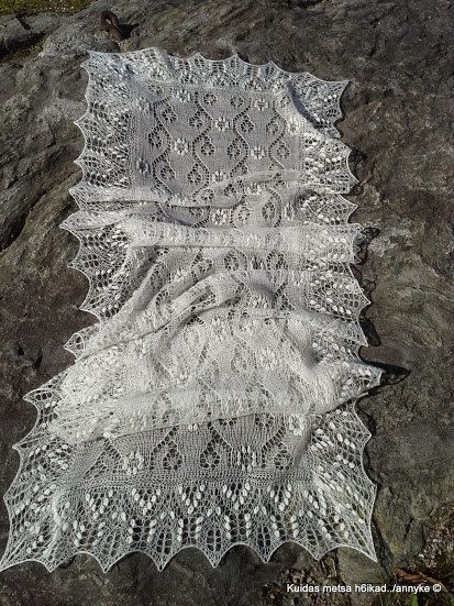 Hand knitted Haapsalu shawl Field Bindweed  by AnnysLacyBoutique