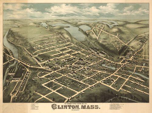 Historic Map – Clinton, MA - 1876. Site of Wachusett Reservoir