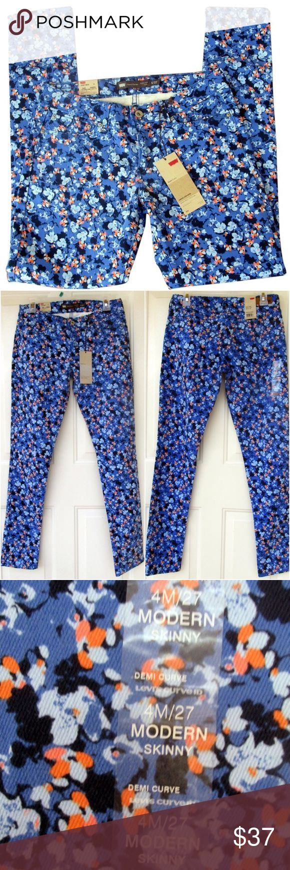 ✨SALE🆕 Levi's Orange and Blue Floral Skinny Jeans ~SALE!✨Reduced from $37 to $30. Weekend price is firm!~  NWT! New with tags! These are adorable Levis Jeans in blue and orange flowers. They are the Demi Curve Modern Rise Skinny Leg in size 4. Perfect and stylish for any season! No swaps/trades. Levi's Jeans Skinny