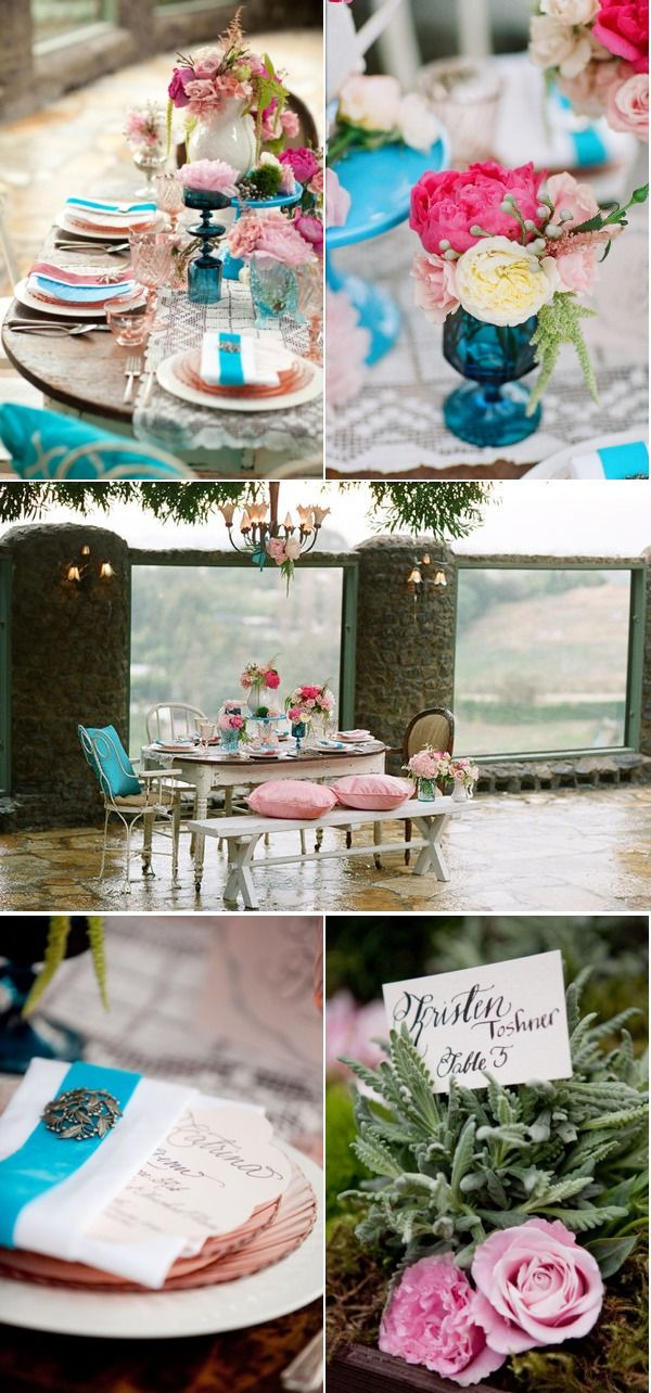 pink and turquoise wedding Jennifer Williams