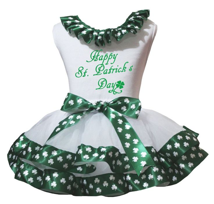 Petitebella Happy St Patrick Day Ruffle Shirt Clover White Petal Skirt Set Nb-8y (6-8 Years). a shirt, a skirt. made by lightweight material. stretchy and comfortable cotton shirt. 4-layers fantastic skirt. outfit in happy st. patrick's day design.