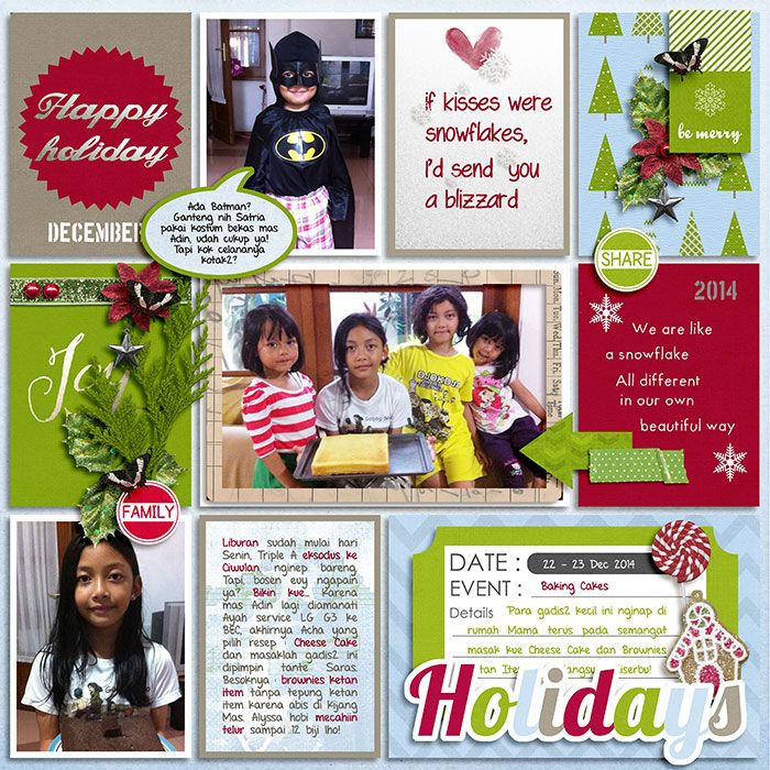 22 Dec 2014 Girls Baking Cakes. Winter Joy by Pixelily Designs. 365Unscriipted : Stitched Grids 2 by Traci Reed.