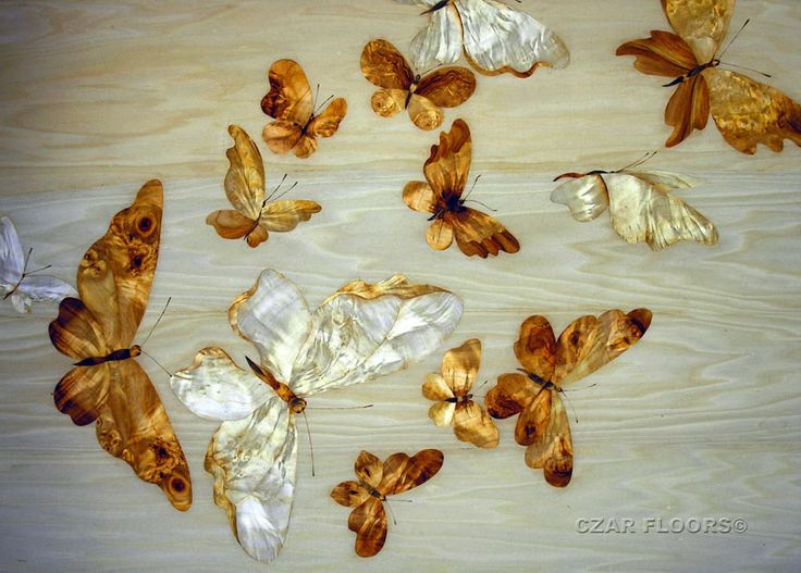 Butterflies In Marquetry - part of Czar Floors collection of unique decorative flooring products.