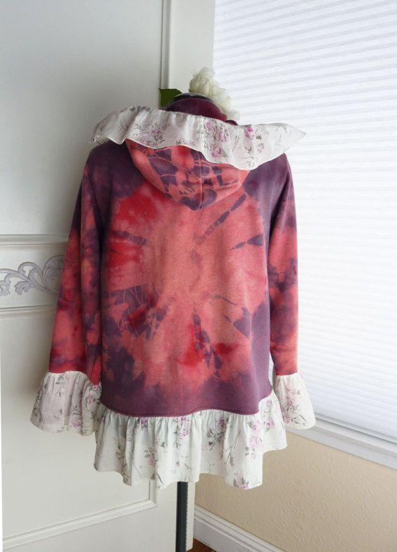 Free Shipping Pink Tie-Dye Zip Up Hooded Sweatshirt Boho Clothes