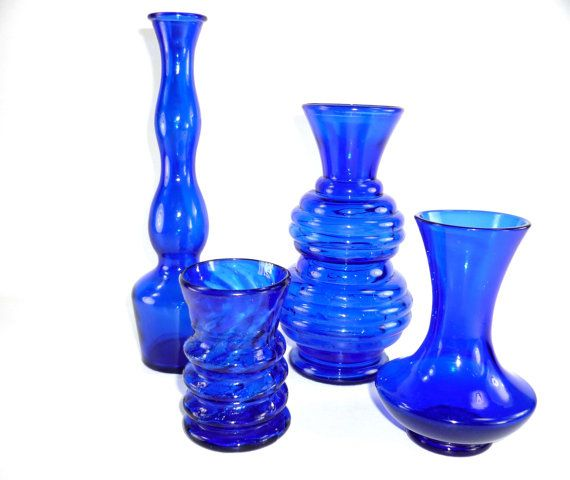 4 Vintage Cobalt Blue Vases Instant Collection by ChromaticWit, $27.99