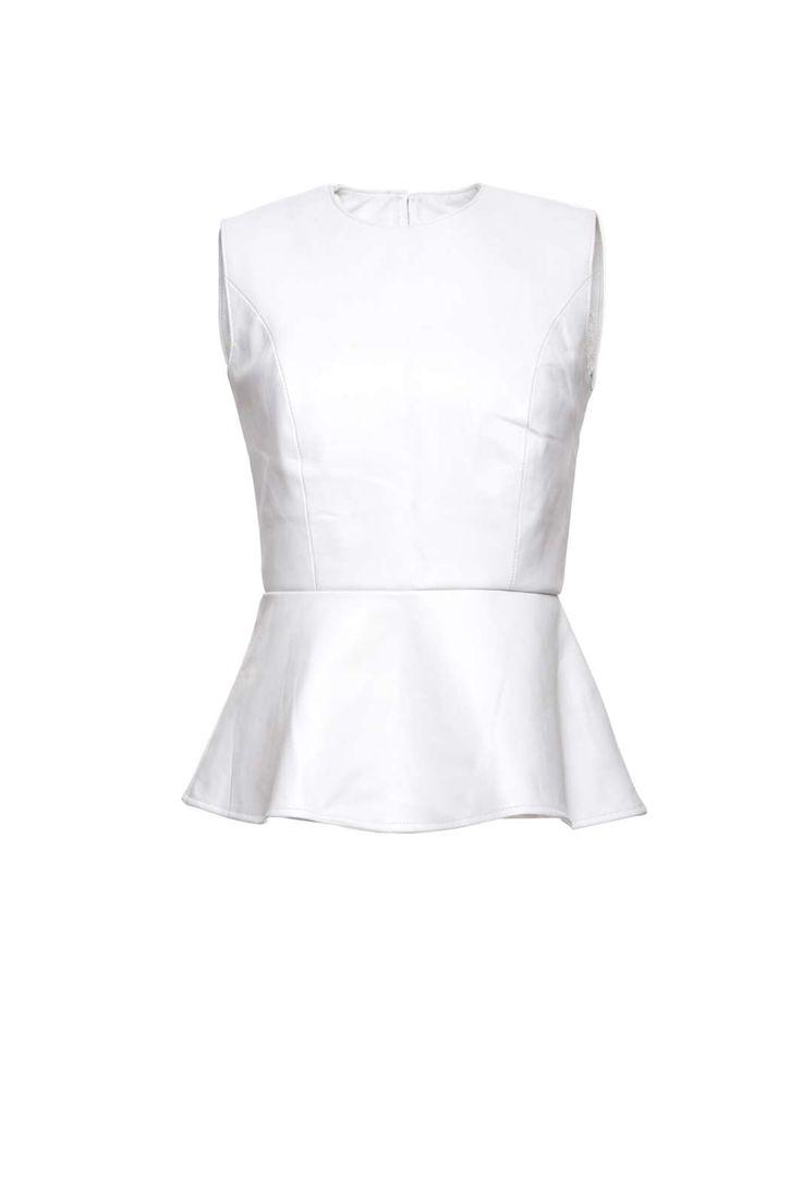 Stine Kim Design White Peplum Top #blackandwhite