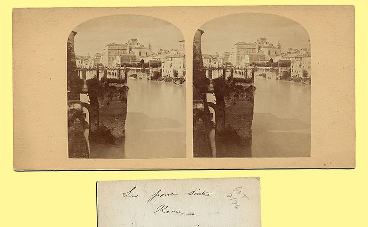Stereograph looking upstream from Ponte Sisto